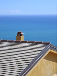 sunny roof at mediteranean sea, italy