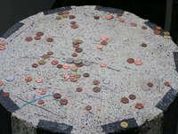 coins in rain