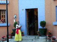 blue door, yellow girl
