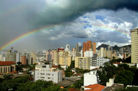 Rainbow and city