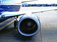 Airplane engine closeup