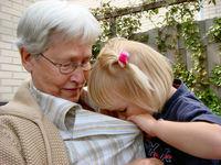 child checks out grandmother