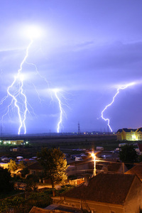 Lightning strikes over Oradea