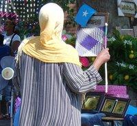 Woman waving flag