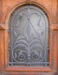 wrought-iron glass window