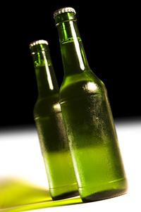 chilled beer bottles
