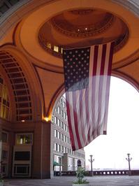 US flag in Boston