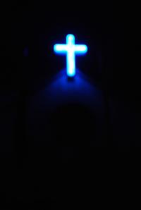 blue neon cross