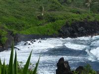 Black Sand Beach in Hana, Maui