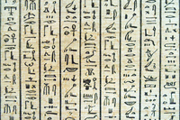 Ancient egyptian scripture on the papyrus