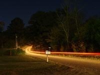 moving car lights at night