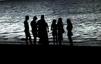 silhouettes in beach
