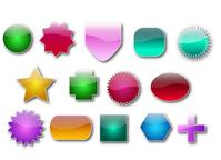 Set of vector glass buttons design