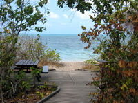 Picnic bench on a beach