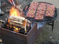 grilling the meat