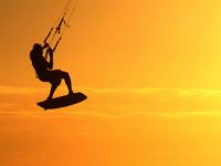 Kite surfer silhouette