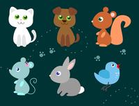 set of cute little animals