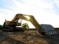 Excavator in dusk
