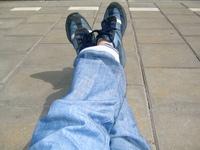 My feet on concrete