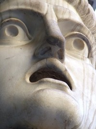 shocked statue