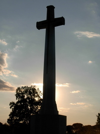 A cemetery in Italy - a tall cross