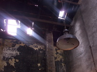 Broken ceiling and lamp